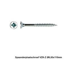 100x Spaanderplaatschroef VZK-Z 6x110mm Zn - PGB
