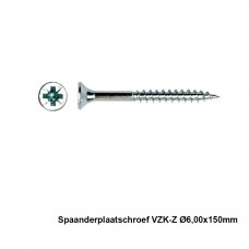 100x Spaanderplaatschroef VZK-Z 6x150mm Zn - PGB