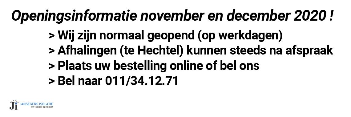 Openingstijden november en december 2020