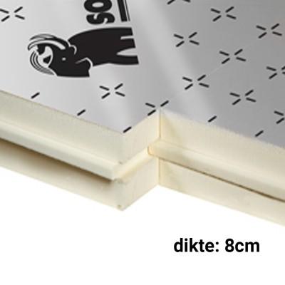 PIR Spouwplaat 8cm 1200x600mm Rd:3,70 6pl/pak (=4,32 m²) Sopratherm ALU