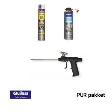 PUR-pakket - PUR traagwerkende schuim (10 st.) + reiniger + pistool